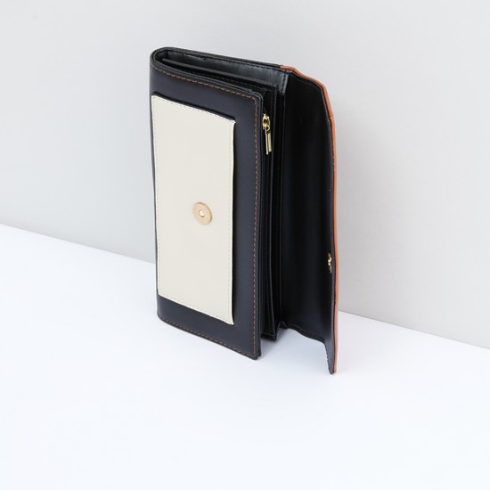 Stitch Detail Wallet with Magnetic Snap Closure