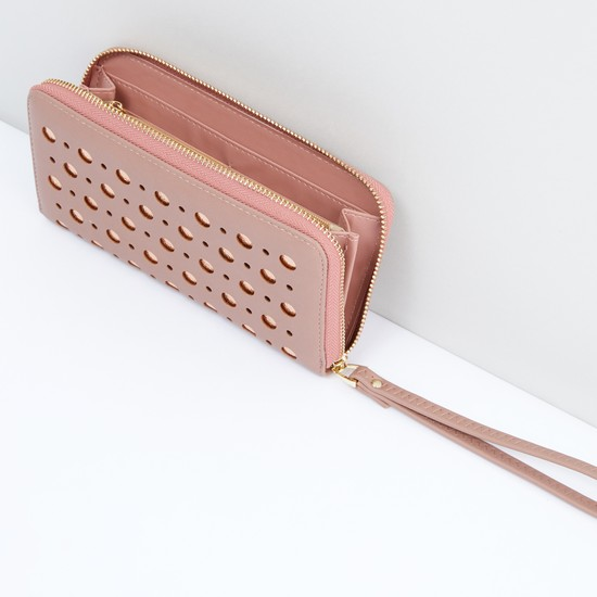Cutout Detail Wallet with Zip Closure and Wrist Strap
