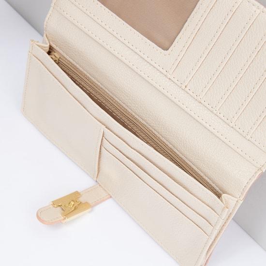 Textured Bi-Fold Wallet with Metallic Lock