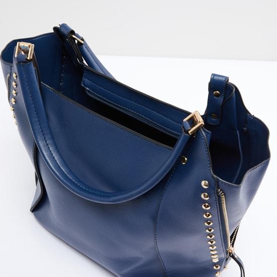 Studded Handbag with Zip Closure and Short Handle