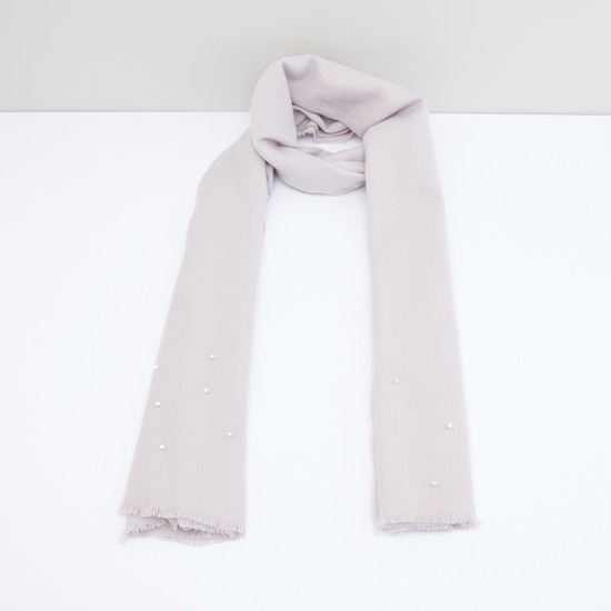 Ribbed Scarf with Fringes and Pearl Detail