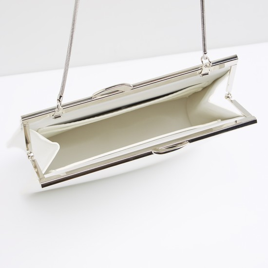 Stitch Detail Clutch with Metallic Chain