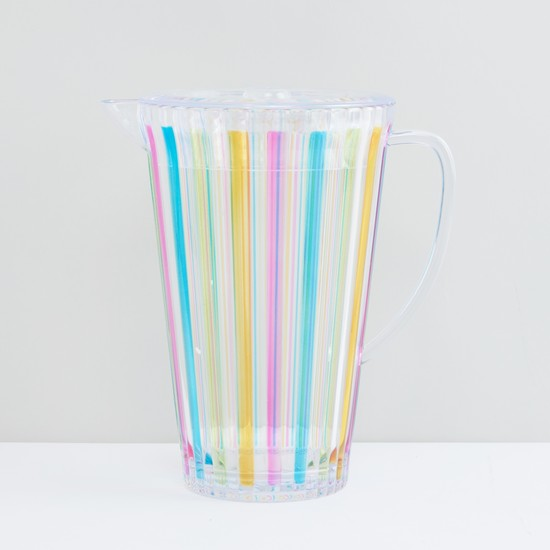 Striped Pitcher with Handle and Lid