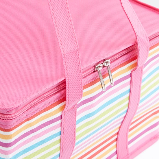 Striped Picnic Bag with Zip Closure