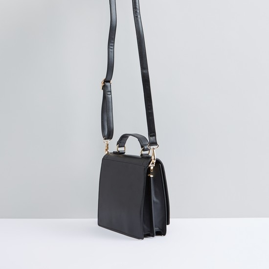 Contrast Piping Detail Satchel Bag with Carry-On Handle