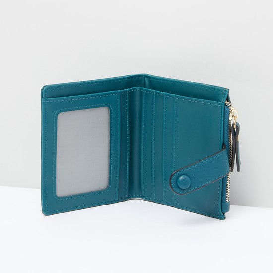 Bi-Fold Wallet with Multiple Pockets and Side Zip Closure