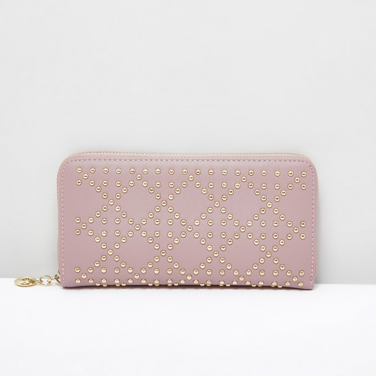 Embellished Wallet with Zip Closure