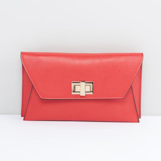 Textured Satchel bag with Detachable Metallic Chain