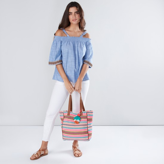 Textured Tote Bag with Tassels