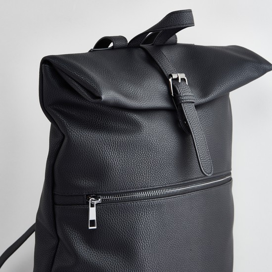Textured Backpack with Magnetic Snap Closure