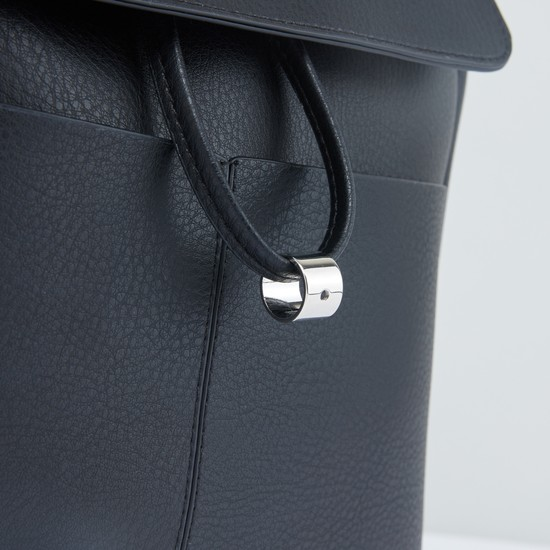 Textured Backpack with Flap