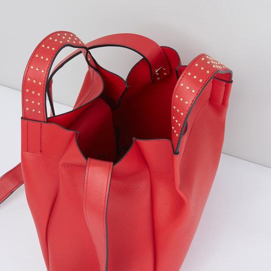 Textured Handbag with Metallic Accents