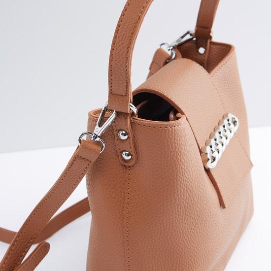 Textured Handbag with Metallic Chain Detail