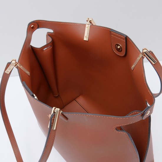 Metallic Detail Handbag with Crossbody Bag