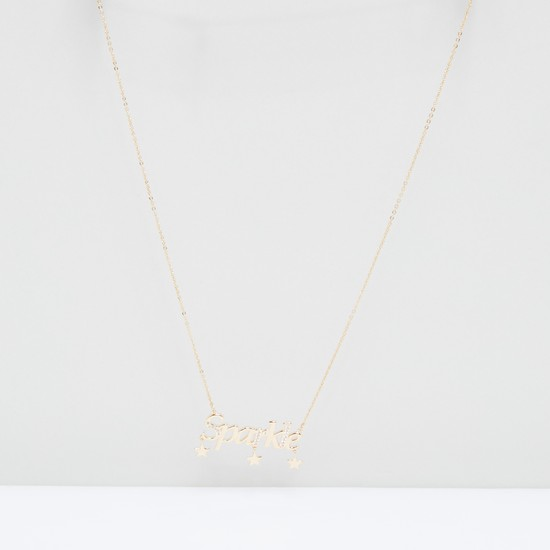 Sparkle Text Pendant Necklace with Lobster Clasp