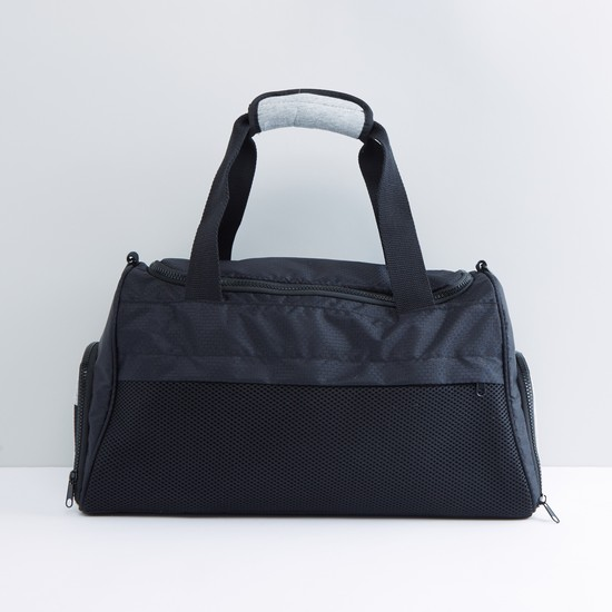 Textured Gym Bag with Zip Closure