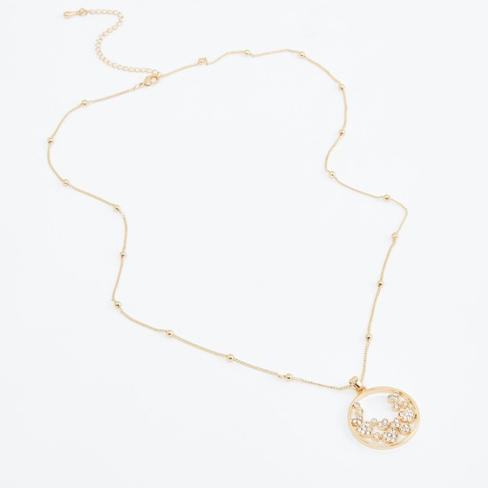 Metallic Pendant Necklace with Stud Detail and Lobster Clasp