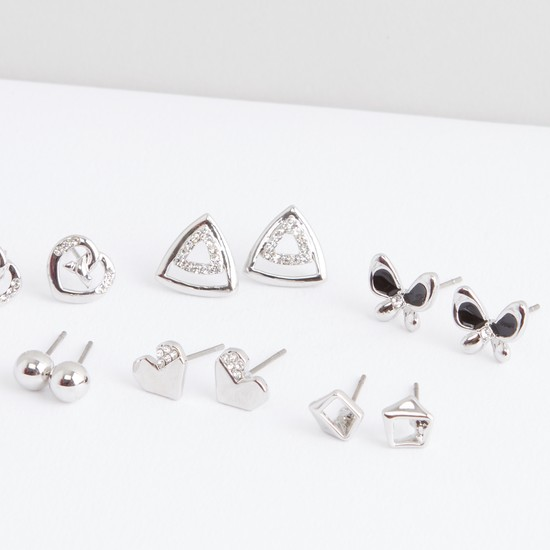 Set of 6 - Embellished Earrings with Push Button Closure