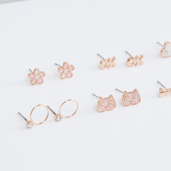 Assorted Stud Earrings with Push Back - Set of 6