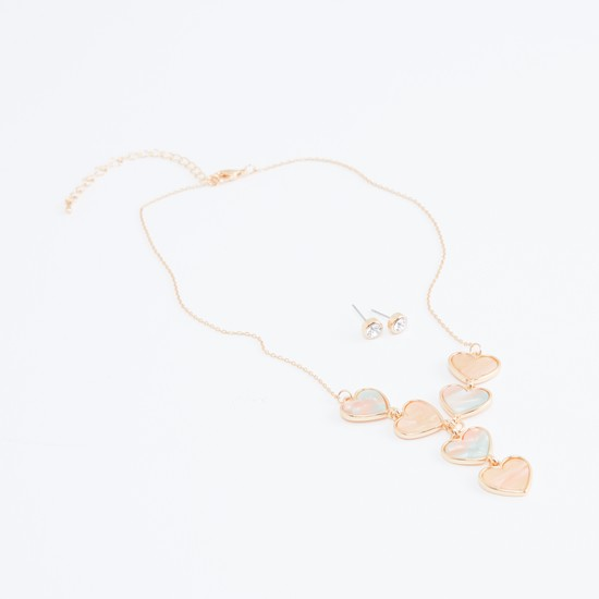 Heart Shaped Pendant Necklace and Stud Earrings Set
