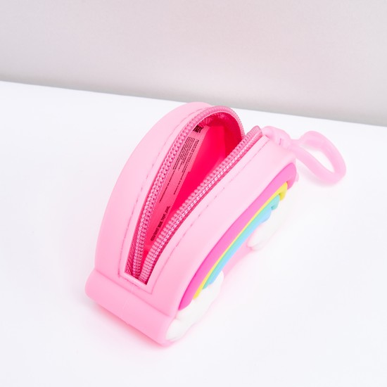 Rainbow Detail Coin Purse with Zip Closure