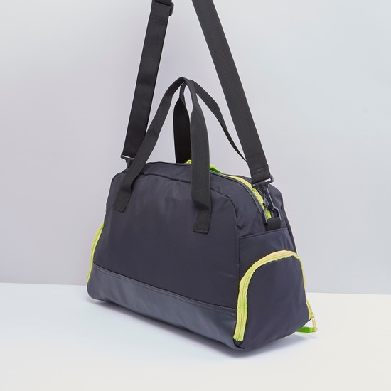 Zip Closure Duffel Bag with Twin Handles and Shoulder Strap