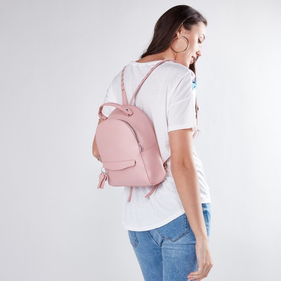 Solid Backpack with Embellishment and Zip Closure