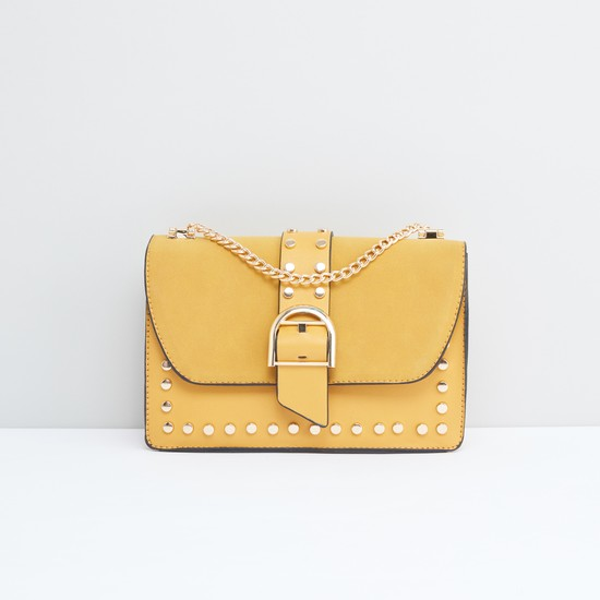 Studded Satchel Bag with Magnetic Snap Closure and Metallic Chain