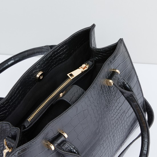 Textured Handbag with Zip Closure and Adjustable Shoulder Strap
