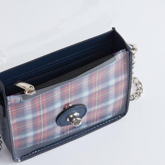 Checked Handbag with Twist and Lock Closure