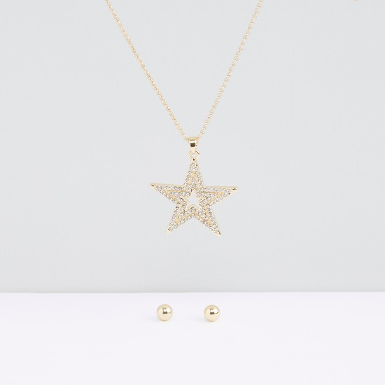 Crystal Studded Star Necklace and Earrings Set