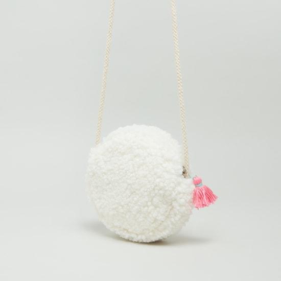 Textured Crossbody Bag with Tassel Detail