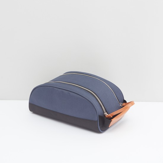 Solid Pouch with Dual Zip Closure