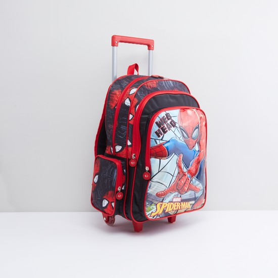 Spider-Man Printed Trolley Backpack with Retractable Handle