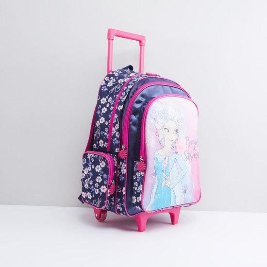 Frozen Printed Trolley Backpack with Retractable Handle