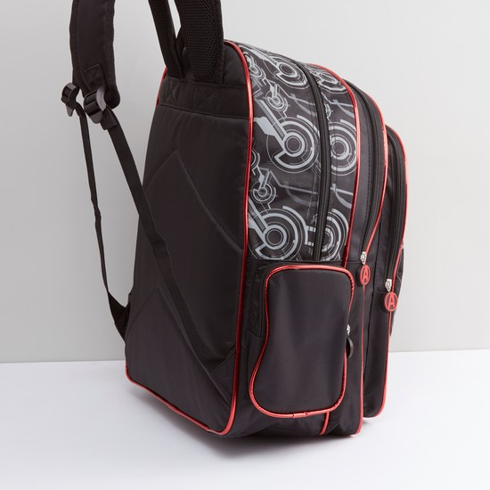 Iron Man Printed Backpack with Zip Closure