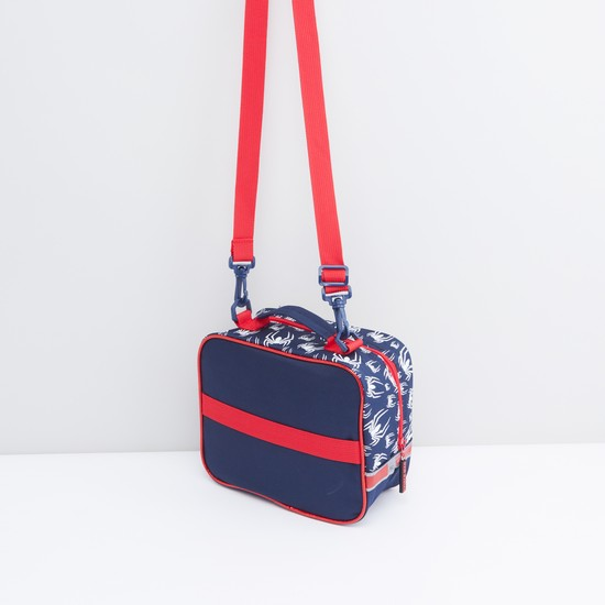 Spider-Man Printed Lunch Bag with Zip Closure and Detachable Strap