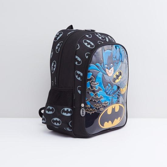 Batman Printed Backpack with Shoulder Straps and Mesh Side Pockets