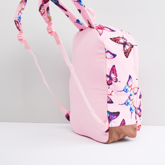 Butterfly Printed Backpack with Zip Closure