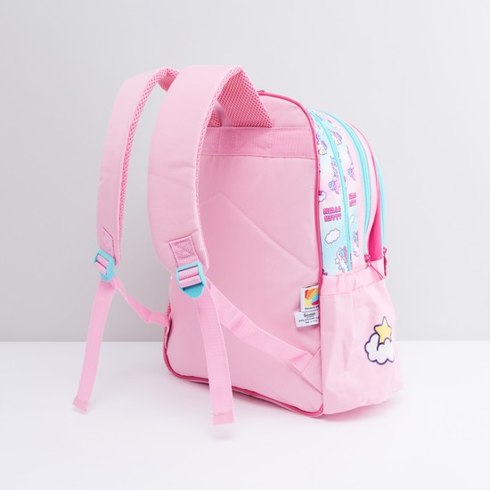 Hello Kitty Printed Backpack with Shoulder Straps and Zip Closure