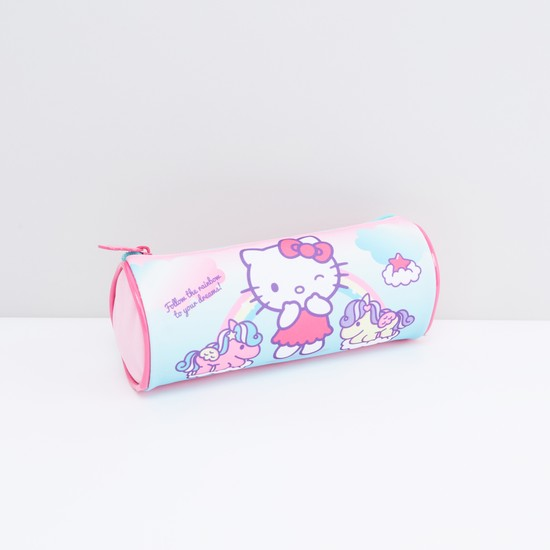 Hello Kitty Print Cylindrical Pouch