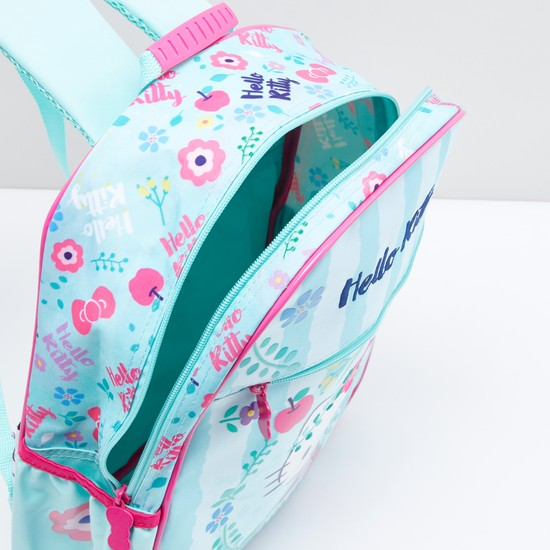 Hello Kitty Printed Backpack with Zip Closure