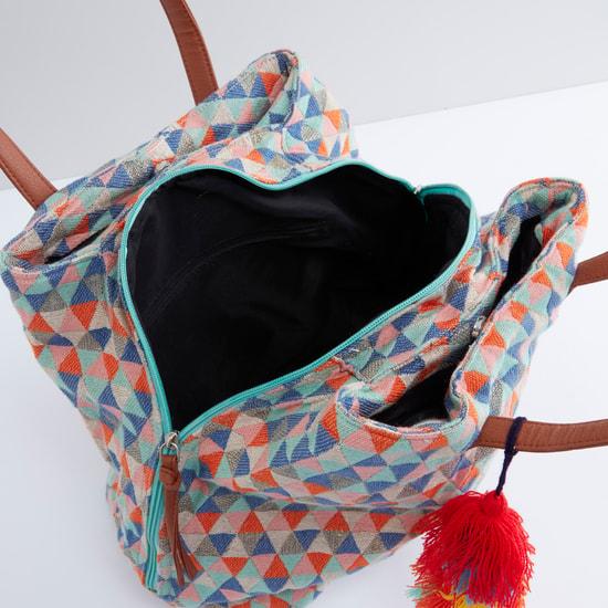 Handbag with Geometric Design and Tassels