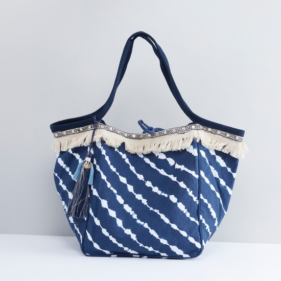 Embellished Tote Bag with Tie Up Closure