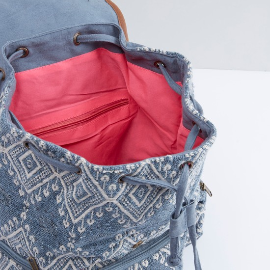 Embroidered Backpack with Tassel Detail