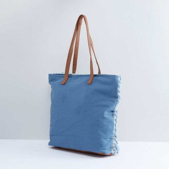 Textured Tote Bag with Zip Closure