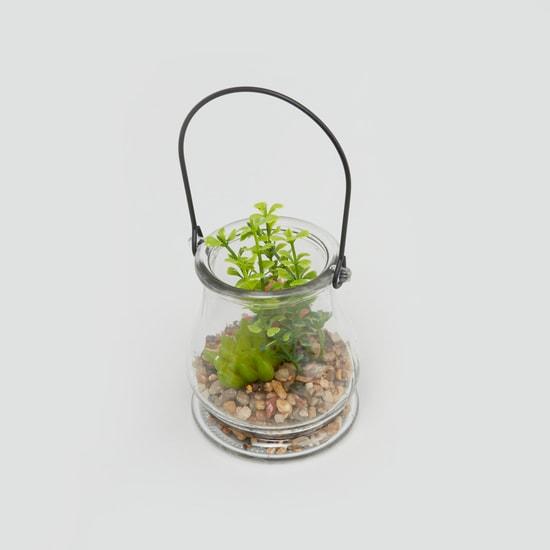 نبتة ديكور في جرة مع مقبض - 9x9 سم