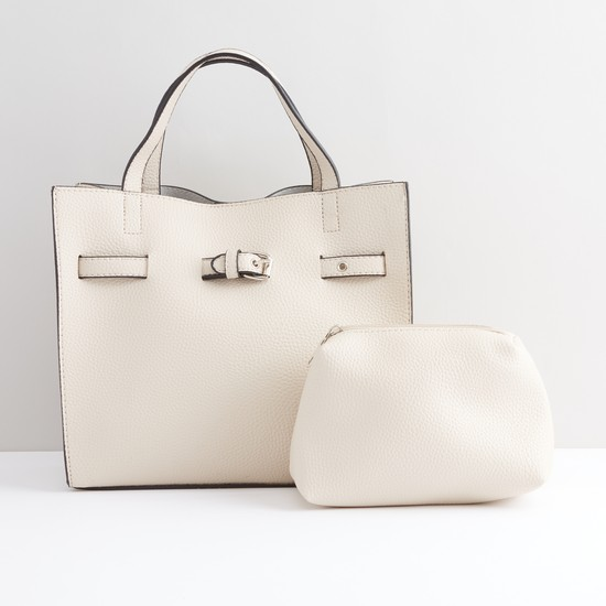 Textured Hand Bag with Snap Button Closure