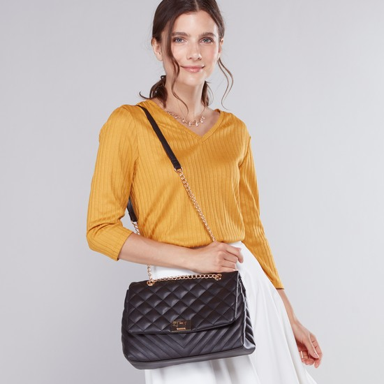 Quilted Satchel Bag with Sling Strap