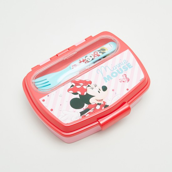 Minnie Mouse Printed Lunch Box with Fork and Spoon